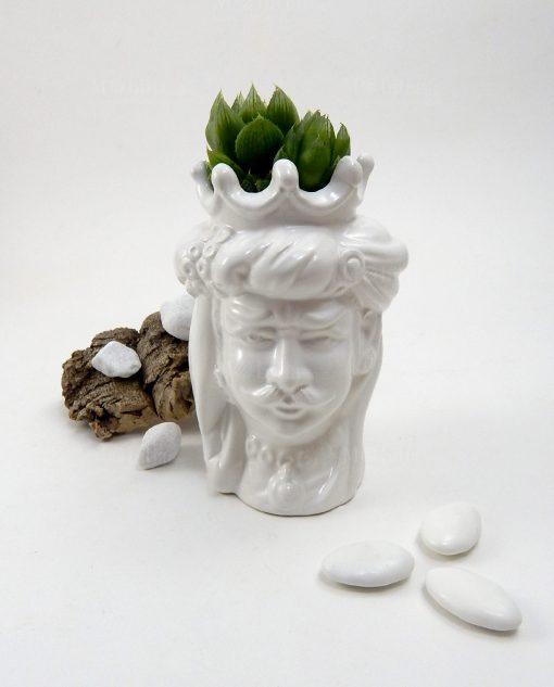 Testa di moro insieme per sempre ceramica di caltagirone bianca con pianta grassa