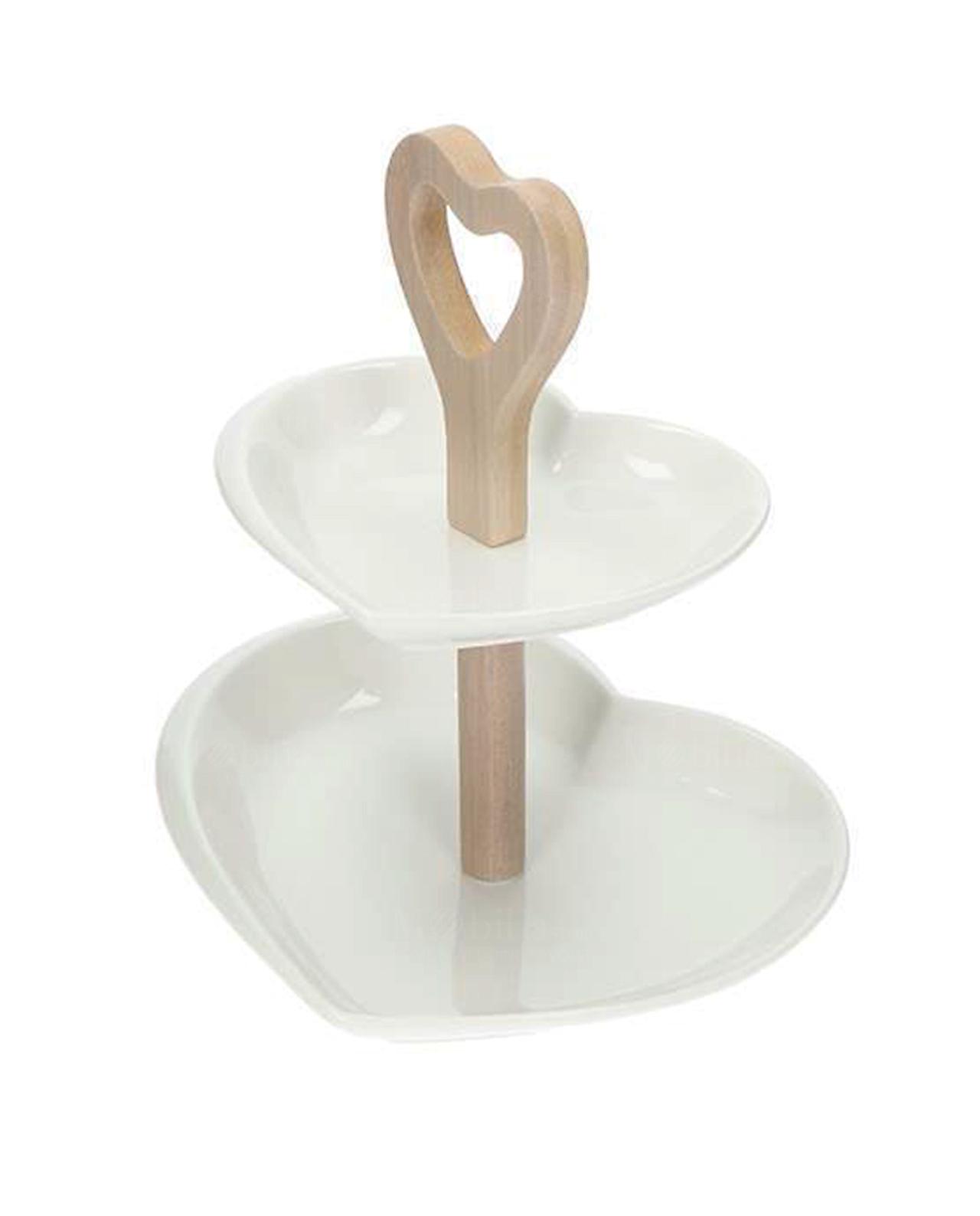 Alzate per confettata 2 piani cuore metallo bianco for Piani a forma di l per piccoli lotti
