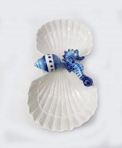 antipastiera a forma di conchiglia in ceramica