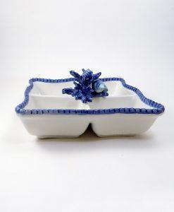 antipastiera in ceramica con corallo blu