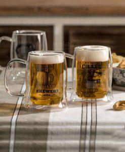 boccale birra bouble wall decori assortiti vetro brandani tavola