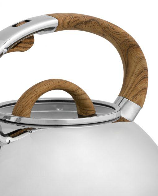 bollitore in acciaio con manico effetto legno brandani