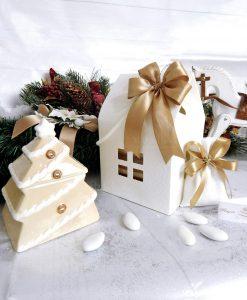 bomboniera biscottiera albero di natale con scatola casetta