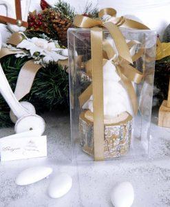 bomboniera candela albero di natale con scatola