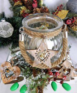 bomboniera lanterna in vetro rotonda con manico in corda