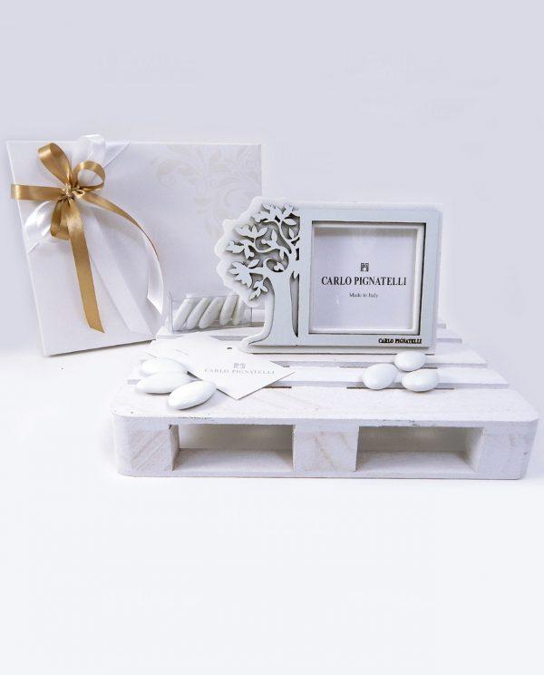 bomboniera portafoto albero della vita con scatola e nastri tortora