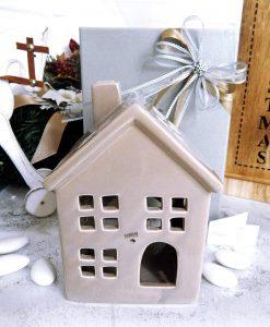 bomboniera natalizia casetta portacandela tortora
