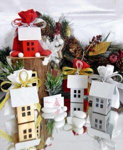 bomboniera natalizia lanterna portacandela casetta colori assortiti