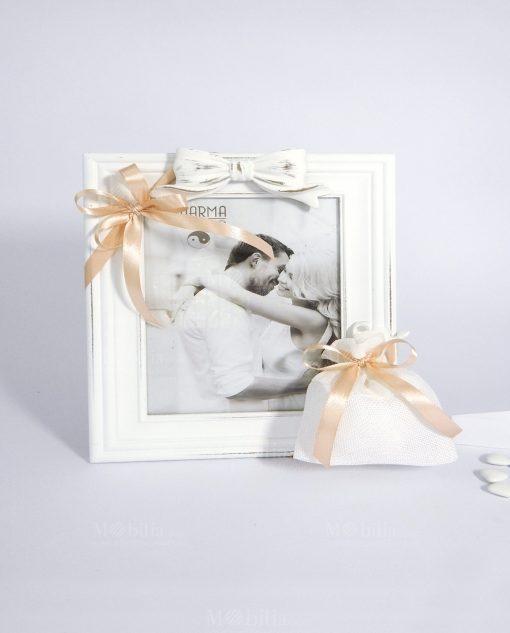 bomboniera portafoto rettangolare in legno bianco shabby chic