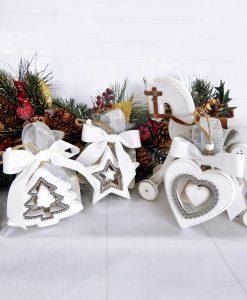 bomboniera sacchetto con appendino natalizio in legno bianco