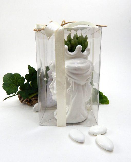 bomboniera testa di moro ceramica bianca di caltagirone