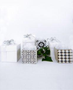 bomboniera vaso piccolo 3 decori assortiti con tulle bianco e scatola linea lisbona ad emozioni
