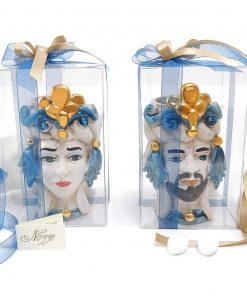 bomboniere artigianali teste di moro blu e oro ceramica di caltagirone