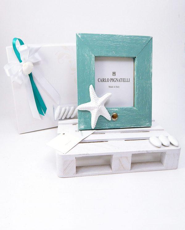 portafoto con stella marina bianca confezionato con scatola e nastri bianchi e tiffany
