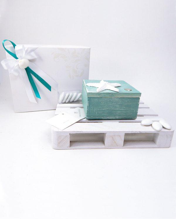 bomboniera scatola tiffany con stella marina carlo pignatelli con scatola nastri bianchi e tiffany con conchiglia