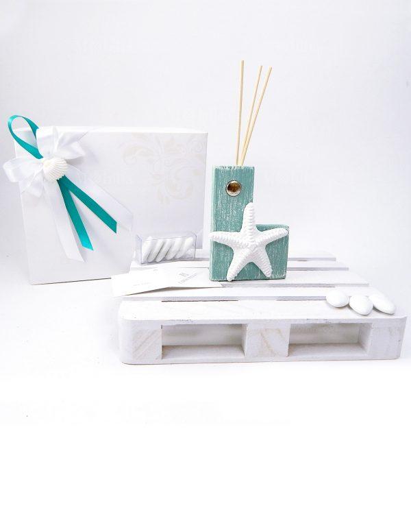 bomboniera profumatore tiffany con stella marina bianca con scatola e fiocchi bianchi e tiffany con conchiglia naturale