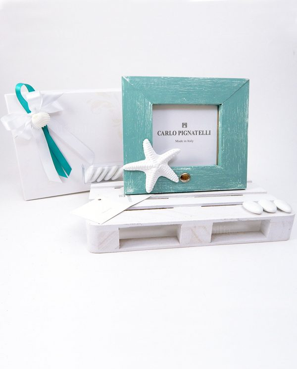 bomboniera portafoto quadrato con stella marina bianca linea oceano pignatelli