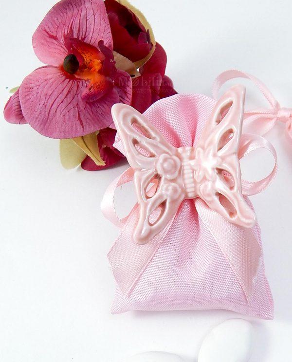 bomboniera magnete farfalla rosa su sacchettino cotone rosa