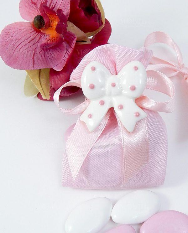 bomboniere sacchettino rosa con fiocchetto magnete
