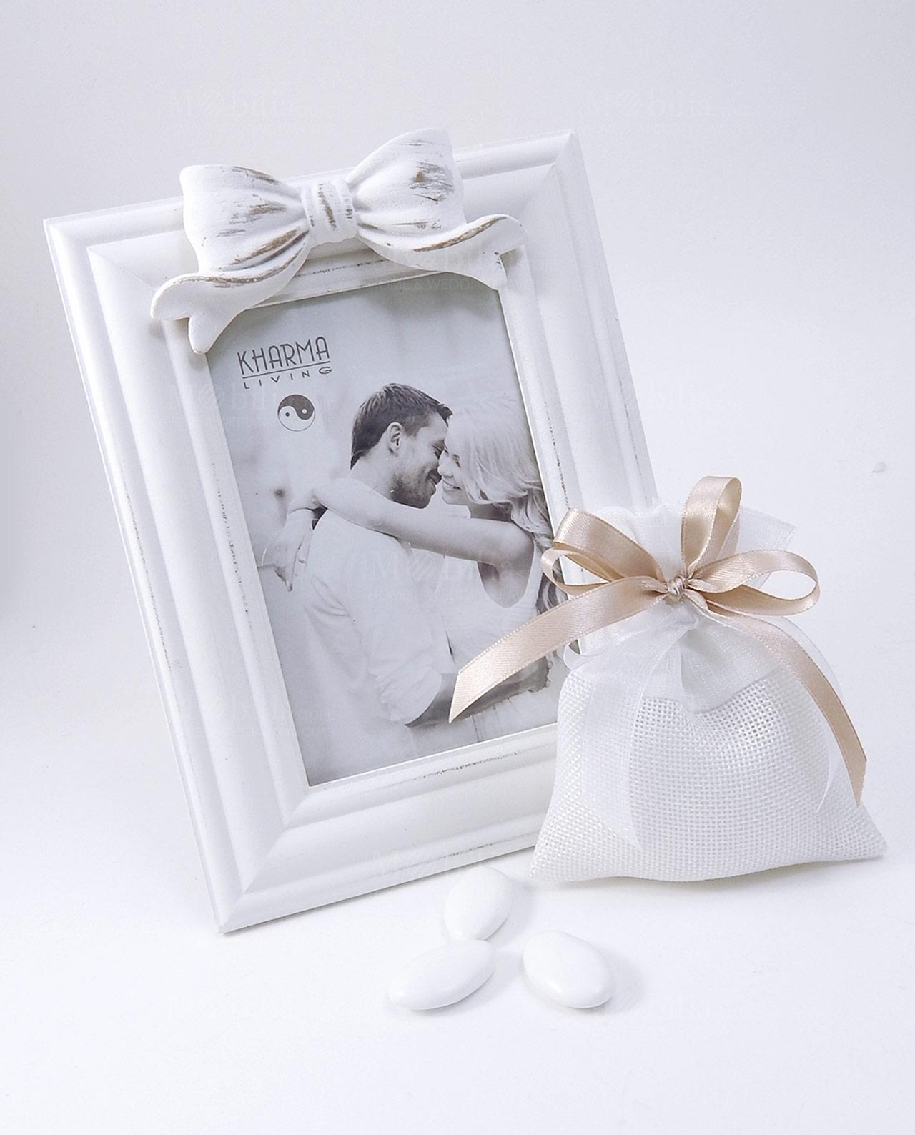 bomboniera shabby chic portafoto rettangolare bianco. Black Bedroom Furniture Sets. Home Design Ideas