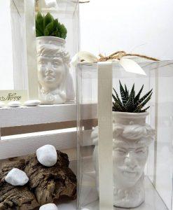 bomboniere teste di moro con corona liscia ceramica di caltagirone con piantina