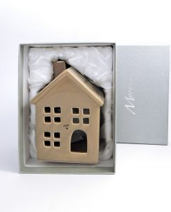 casetta portacandela in porcellana con scatola morena design