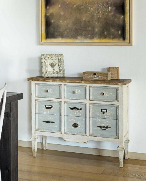 cassettiera in legno di abete con maniglie particolari brandani