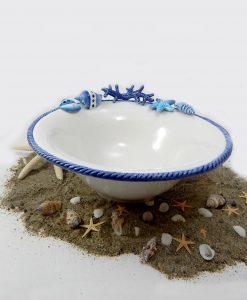 ciotola in ceramica bianca e blu tema mare