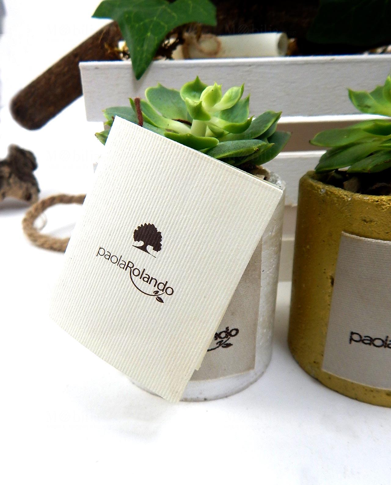 Famoso Bomboniera pianta grassa succulenta con vaso oro Paola Rolando  YW92