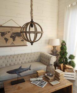 lampadario sfera legno orchidea milano