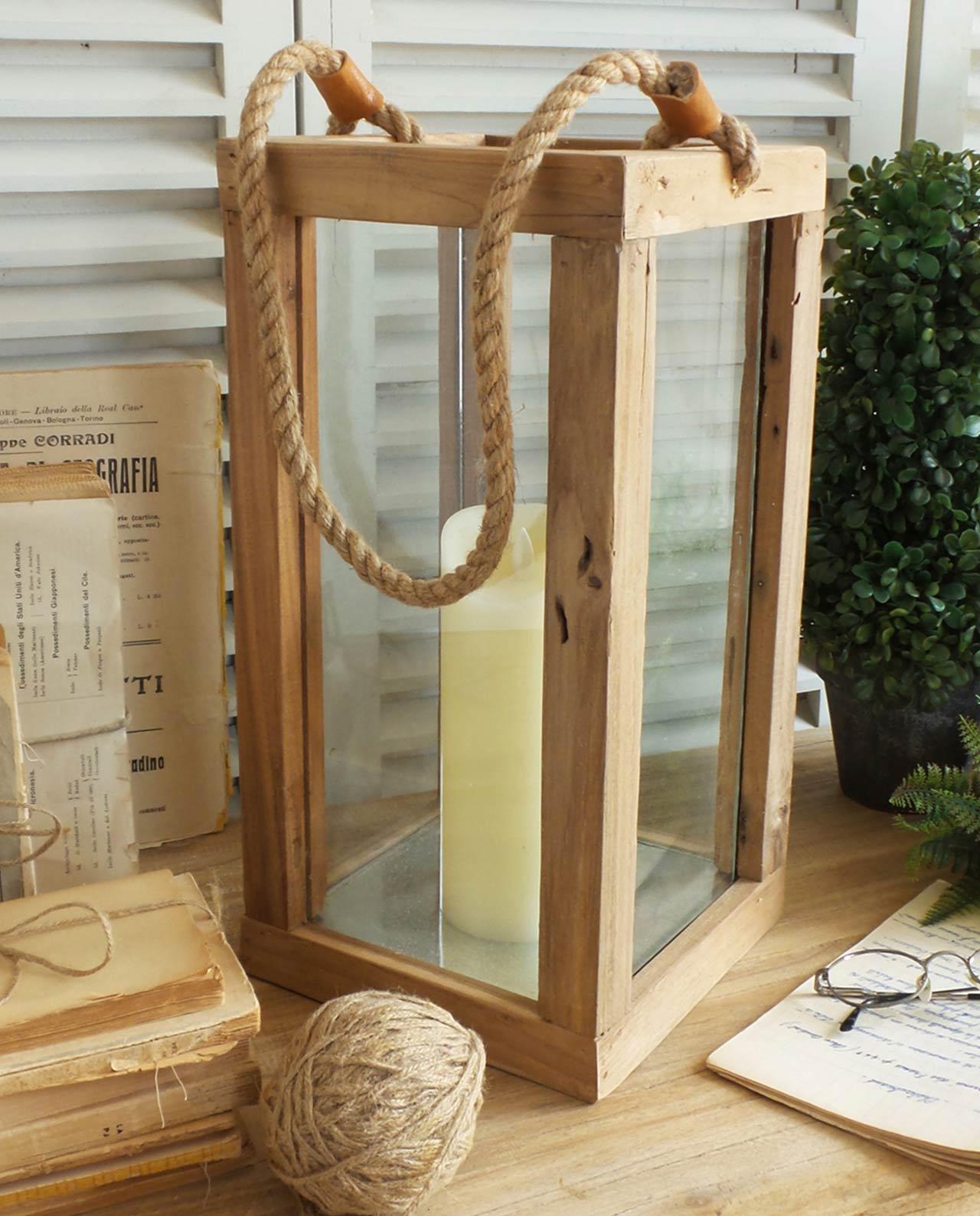 lanterna per candele in legno natural mobilia store home