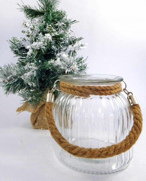 lanterna portacandele in vetro con manico in corda shopping online