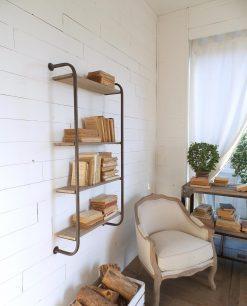 libreria stile industrial ferro e legno