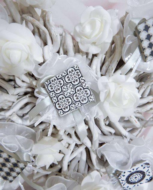 magnete cemento decorato linea lisbona su sacchetto tulle