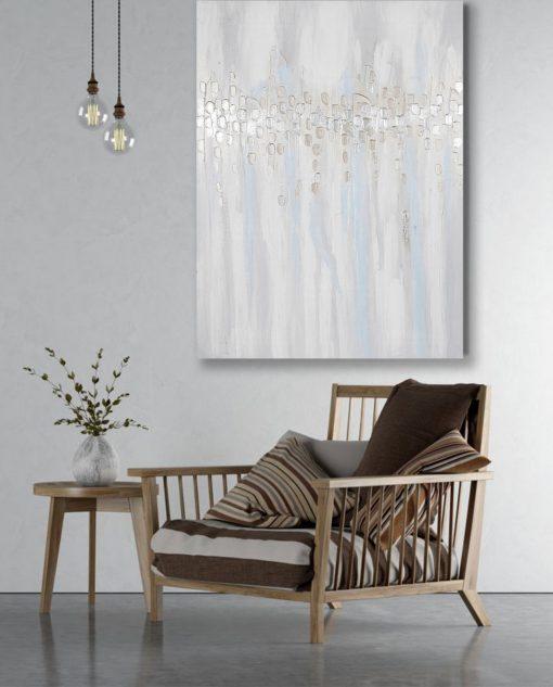 quadro astratto su tela dettagli argento brandani