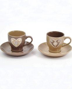 set tazzine da caffè in ceramica tortora