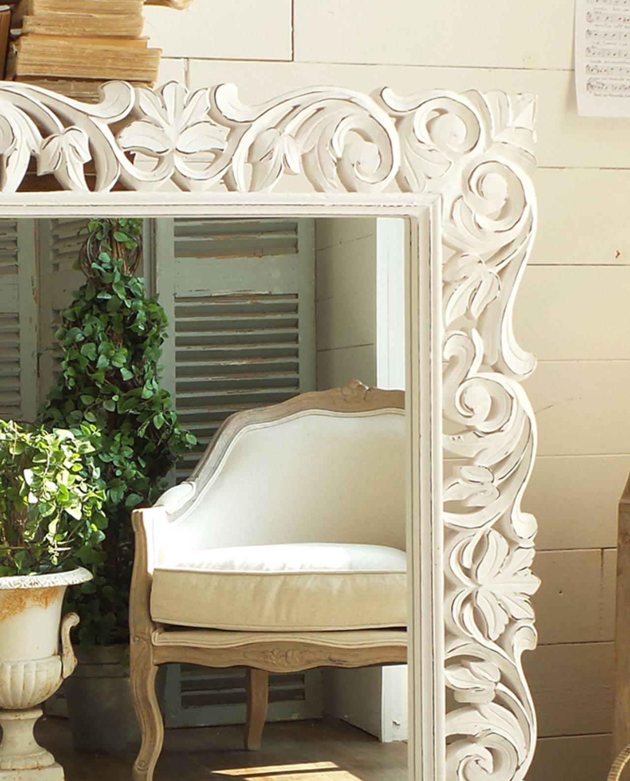 Specchio in mango sbiancato mobilia store home favours - Specchio in legno ...