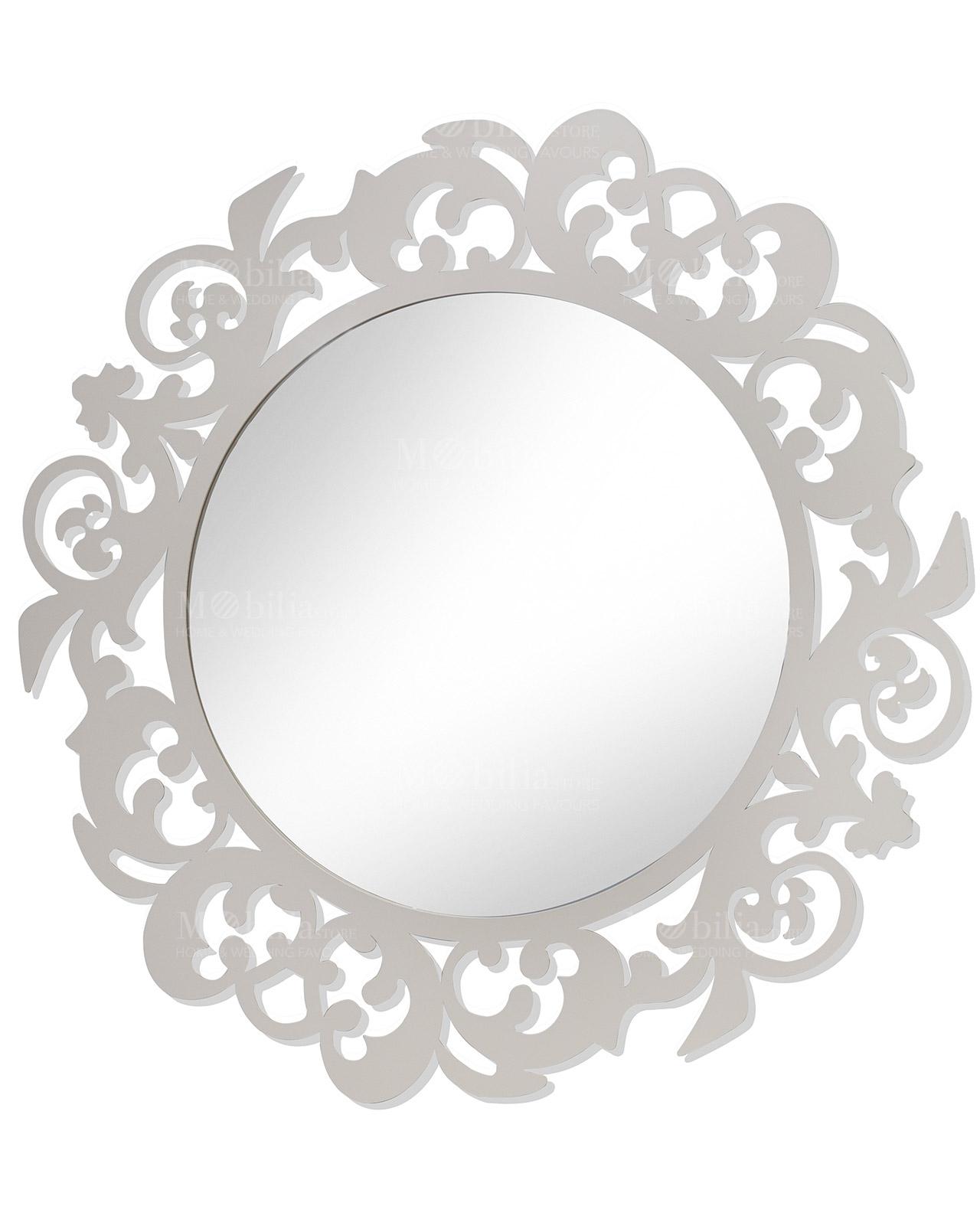specchio rotondo in metallo brandani mobilia store home On specchio da parete rotondo