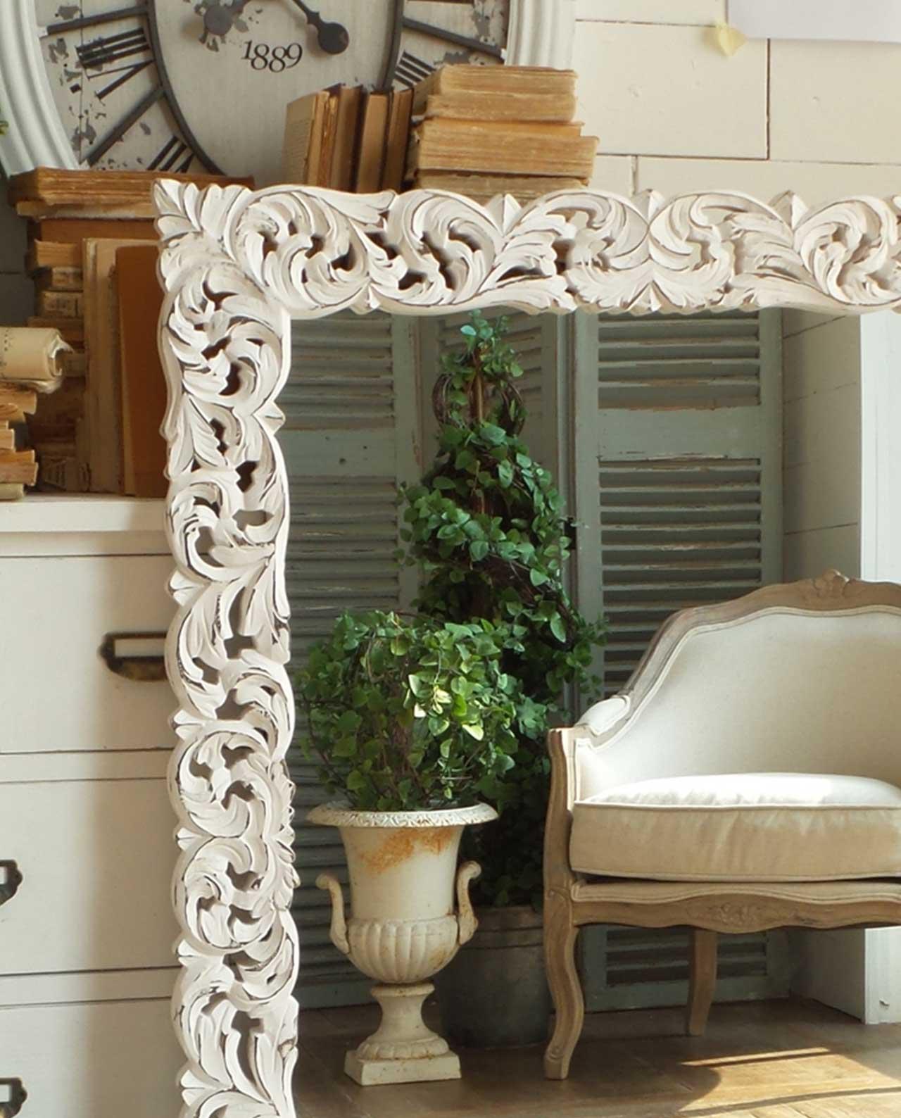 Specchio da parete con cornice legno shabby mobilia - Specchio anticato ...