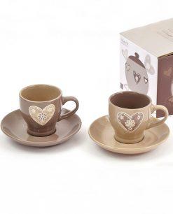 tazzine da caffè in ceramica decorata con piattino