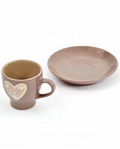 tazzine da caffè in ceramica tortora con decori a rilievo