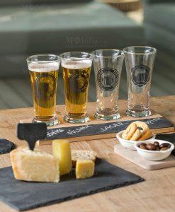 vassoio assaggi mastrobirraio set 6 pezzi bicchieri vetro tagliere ardesia e bamboo brandani tavola