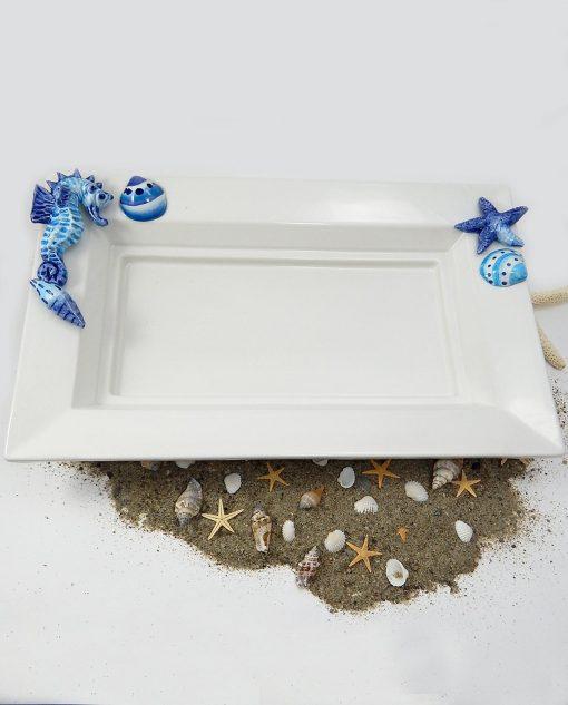 vassoio in ceramica bianca con cavalluccio marino