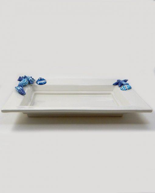 vassoio rettangolare ceramica bianca tema mare