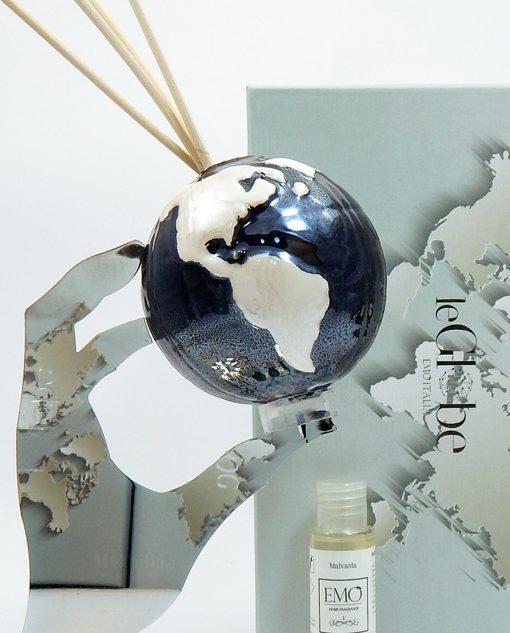 Profumatore globo nero in porcellana con mano tema viaggio Emò