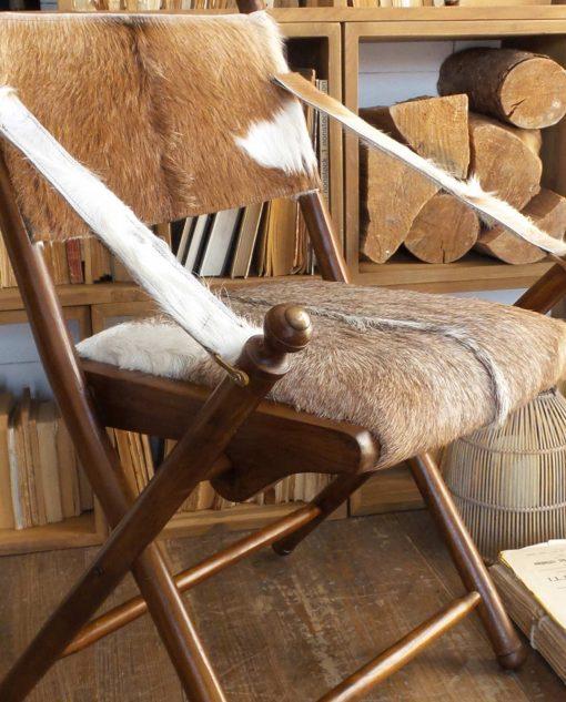 Sedia pieghevole in pelle di capra e legno di teak