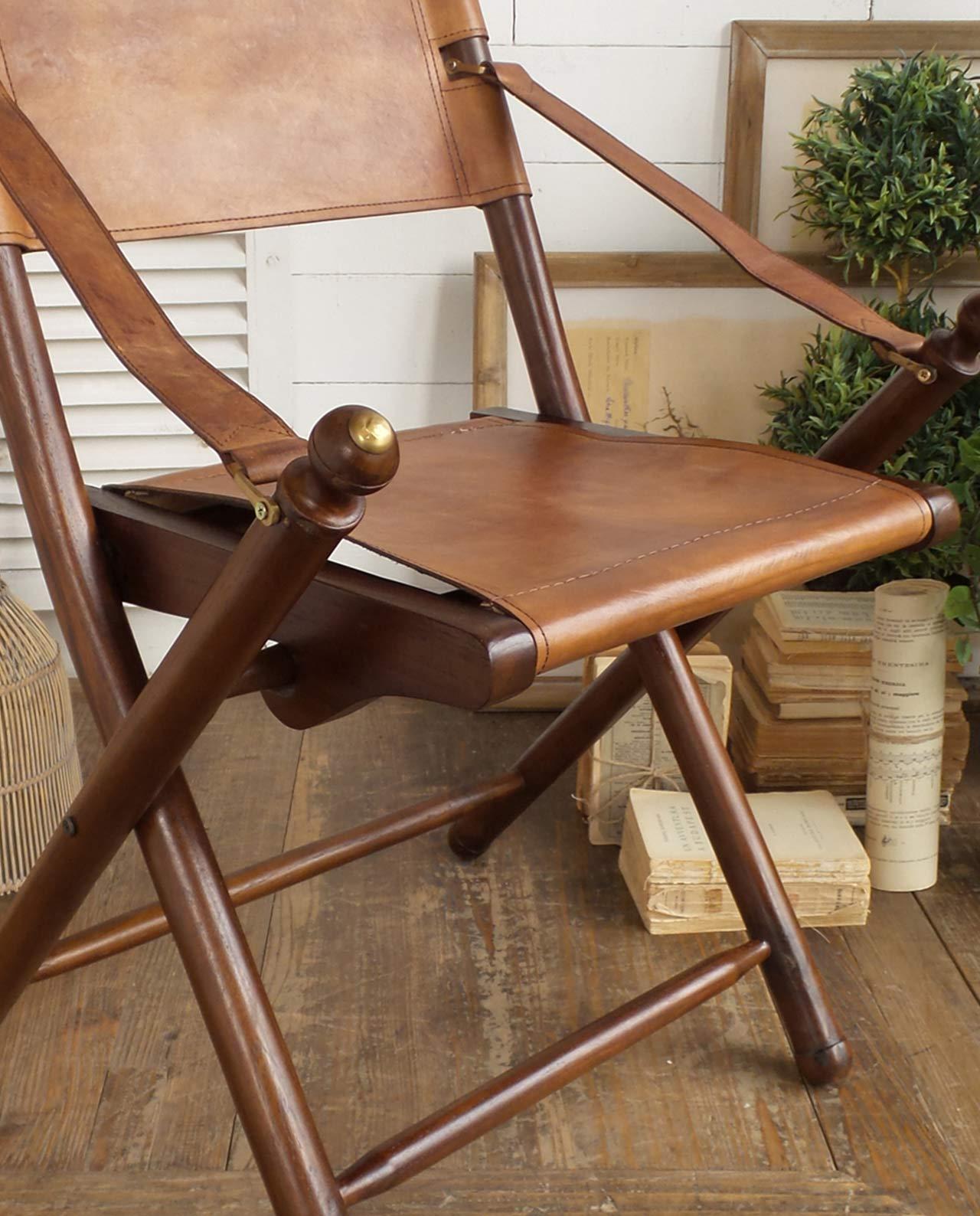 Sedia pieghevole in pelle e legno di teak