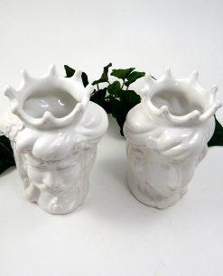 Teste di moro siciliane in ceramica bianca