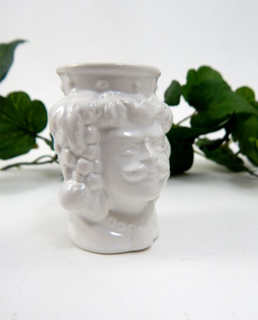 Teste di moro siciliane re in ceramica smaltata bianca