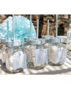 boccali con cannuccia in vetro azzurri